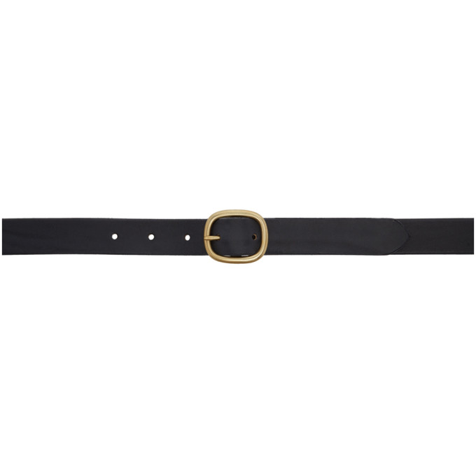 MAXIMUM HENRY BLACK AND GOLD OVAL SLIM BELT