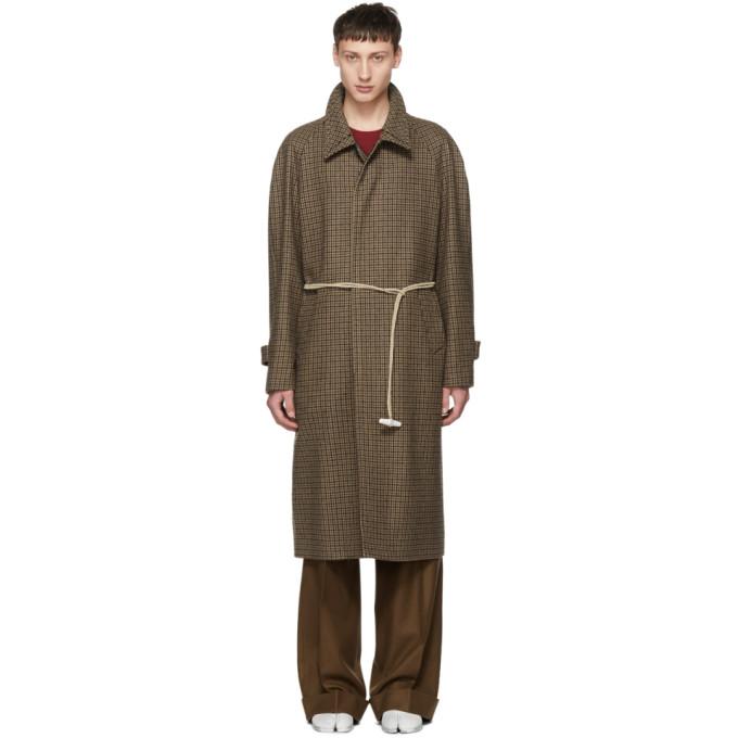 Belted Checked Cotton-Felt Overcoat, 001F Walnut
