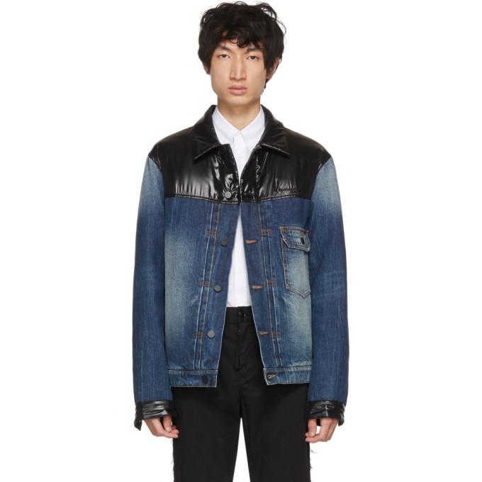 MONCLER GENIUS 7 Moncler Fragment Hiroshi Fujiwara Denim Jacket With Patent Trims in 724