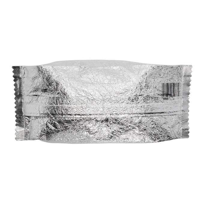 MM6 MAISON MARTIN MARGIELA SILVER LARGE CANDY WRAPPER POUCH