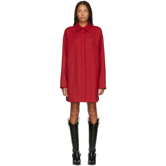 MM6 MAISON MARTIN MARGIELA RED WOOL OVERSHIRT