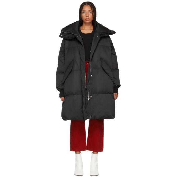MM6 MAISON MARTIN MARGIELA BLACK LONG DOWN PUFFER COAT