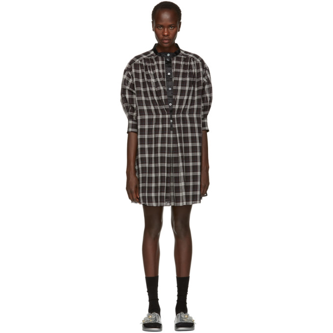 Long-Sleeve Button-Down Plaid Cotton Dress in 005 Blk/Wht