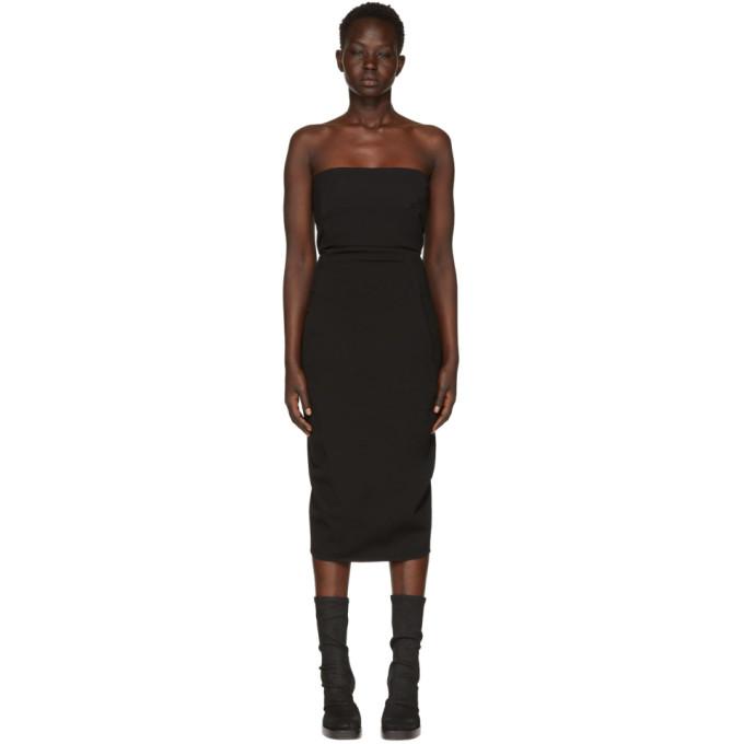 Rick Owens Black Grosgrain Bustier Dress in 09 Black