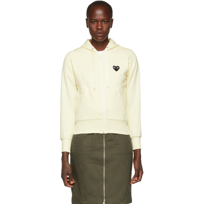 Comme Des Garcons Play White Heart Patch Hoodie in 3 Ivory