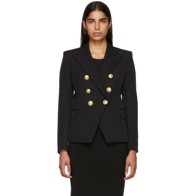 3784d90c Balmain Double-Breasted Grain De Poudre Wool Blazer In Noir C0100
