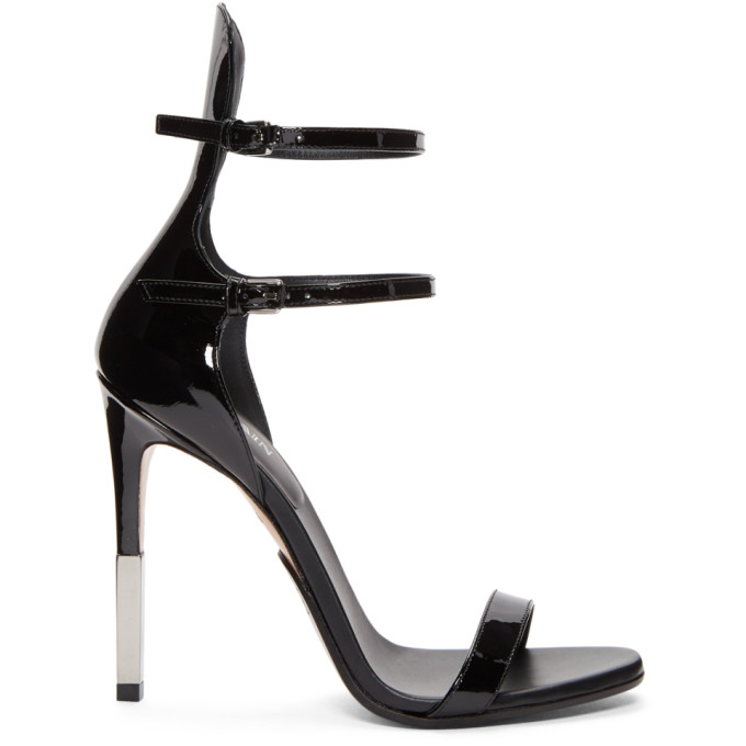 BALMAIN BLACK PATENT ELVIRA SANDALS