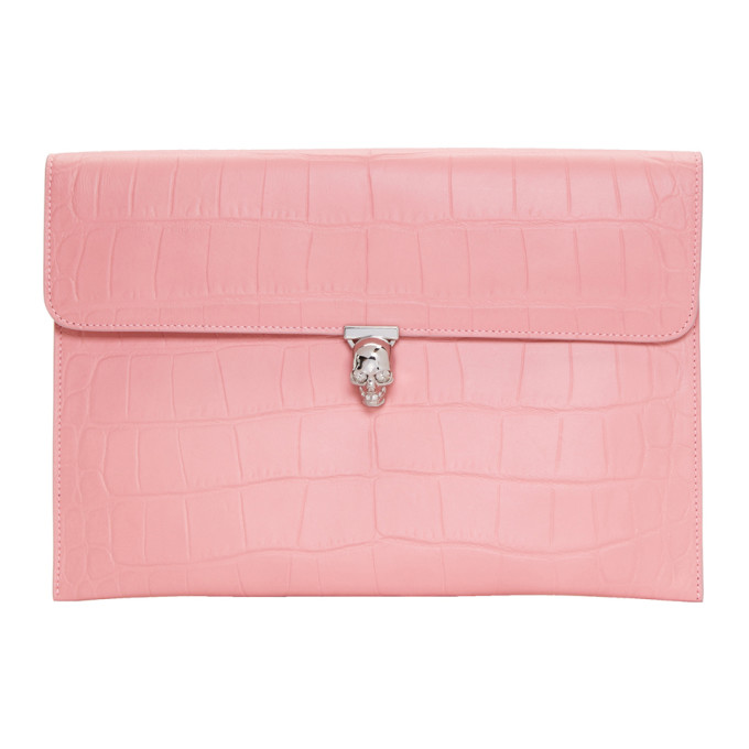 Pink Skull Clutch from SSENSE