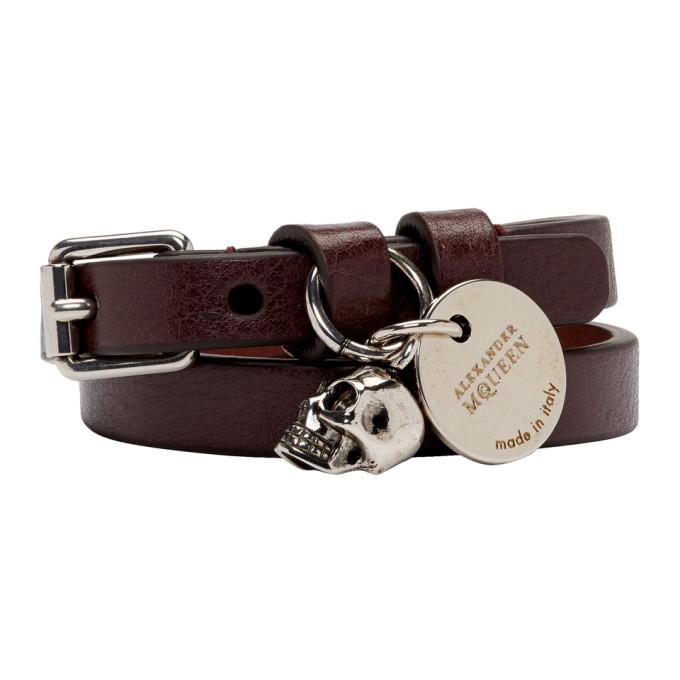 ALEXANDER MCQUEEN Burgundy & Silver Double Wrap Bracelet