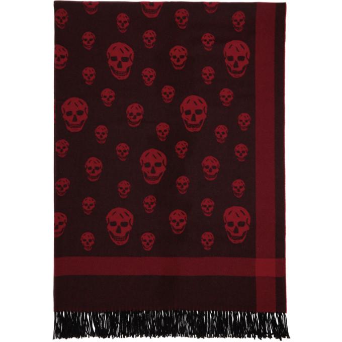ALEXANDER MCQUEEN Red & Black Skull Scarf