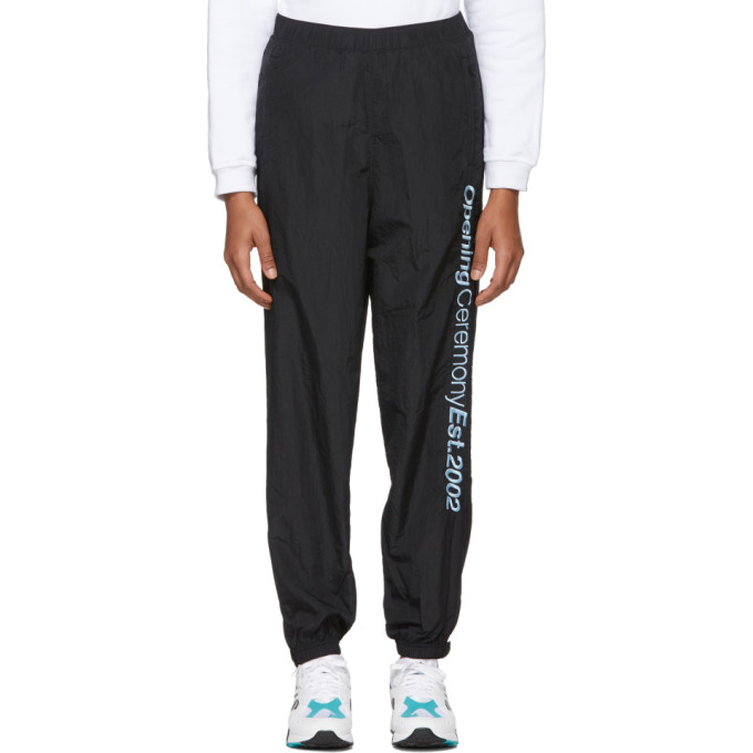 Embroidered Crinkled-Shell Track Pants in 0001 Black