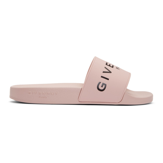 Logo Rubber Slide Sandals - Pink Size 8