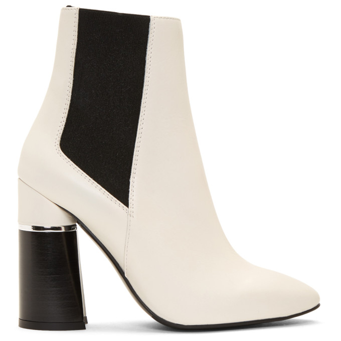 Contrast Heel Boots, White