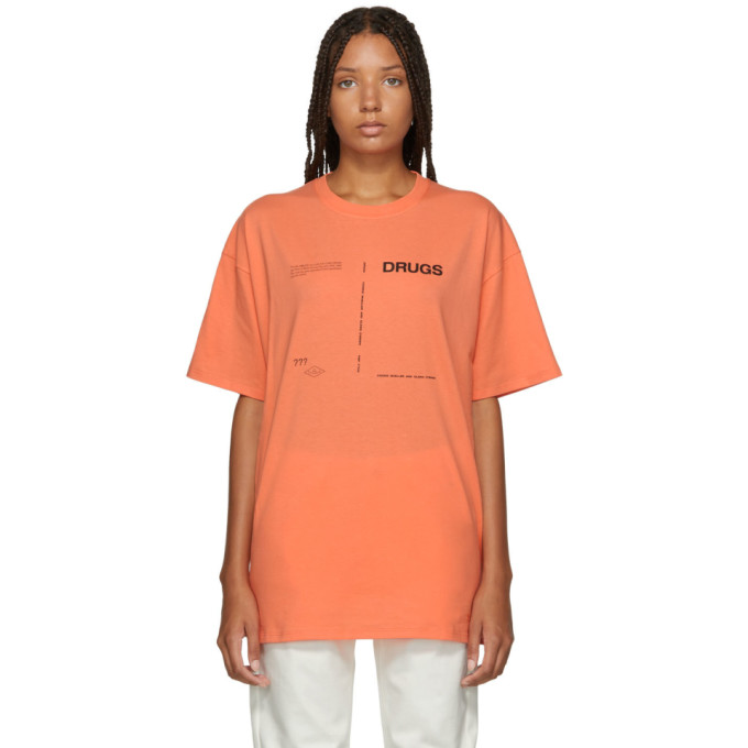 RAF SIMONS ORANGE DRUGS REGULAR FIT T-SHIRT
