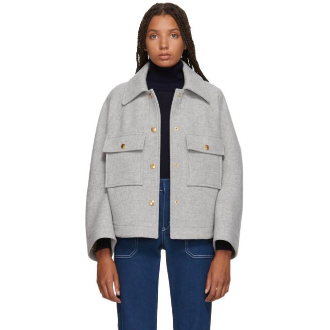 CHLOÉ Grey Loose Fit Shirt Jacket