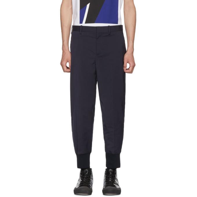 NEIL BARRETT Navy Rib Cuff Trousers