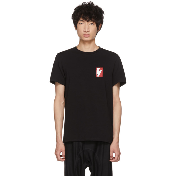 NEIL BARRETT Black Pop Art Thunderbolt Patch T-Shirt