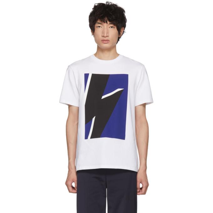 NEIL BARRETT White & Blue Pop Art Thunderbolt T-Shirt