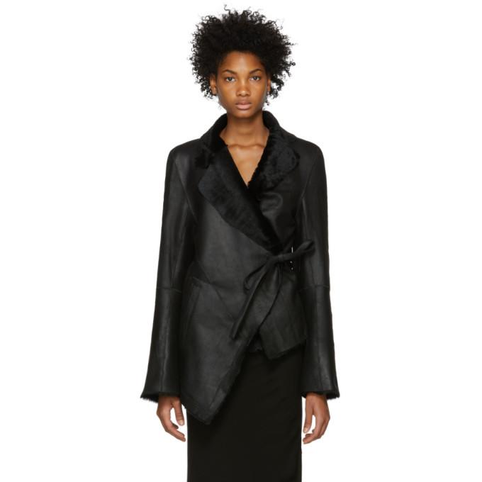 Reversible Distressed Shearling Jacket in 099 Black