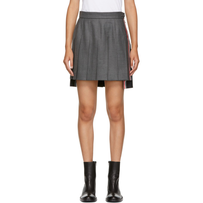 THOM BROWNE GREY AND BLUE PLEATED MINISKIRT