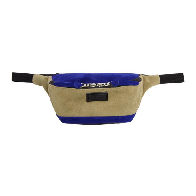 MASTER-PIECE CO Master-Piece Co Beige And Blue Revise Waterproof Waist Pouch in Beige.Blu