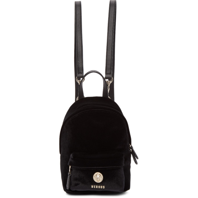 Versus Black Small Lion Velvet Backpack, F463H Black