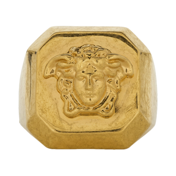 VERSACE GOLD OCTAGONAL MEDUSA STATEMENT RING
