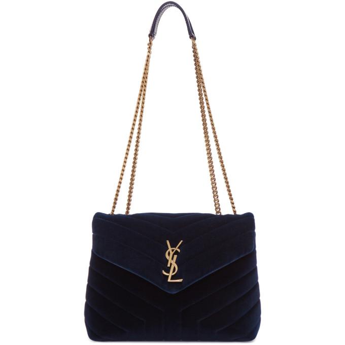 SAINT LAURENT Blue Velvet Small Loulou Chain Bag