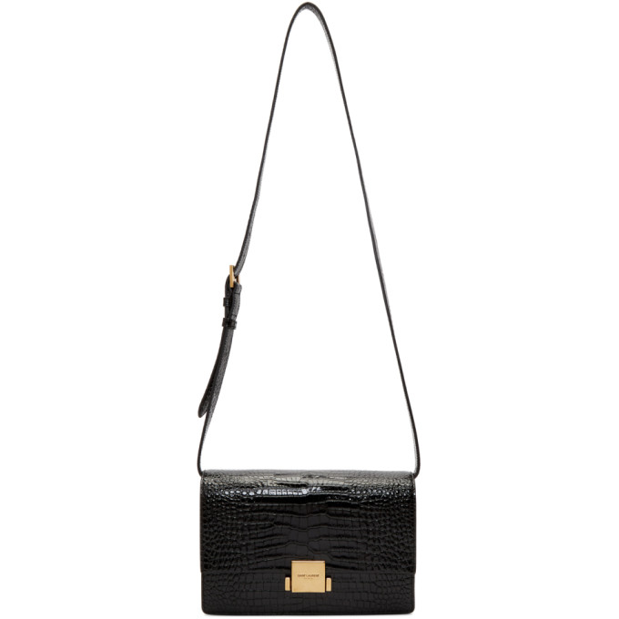 SAINT LAURENT BLACK CROC MEDIUM BELLECHASSE SATCHEL