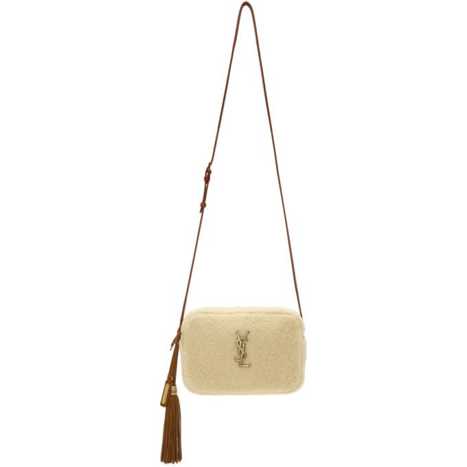 SAINT LAURENT White Camera Shearling Bag