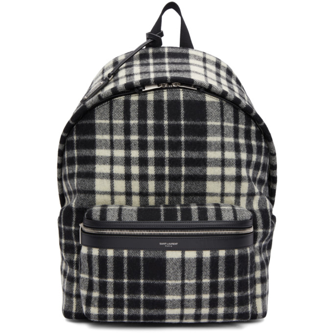 SAINT LAURENT Black & White Check City Backpack