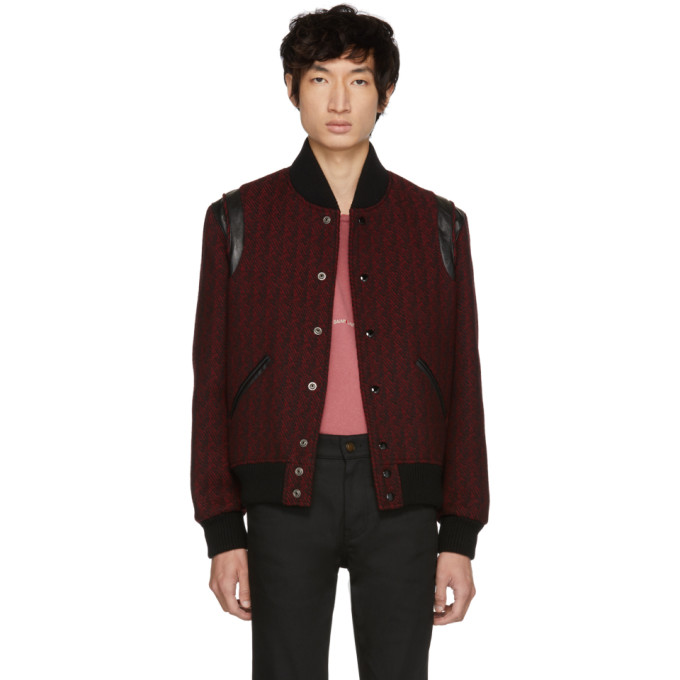 SAINT LAURENT Red & Black Teddy Bomber Jacket