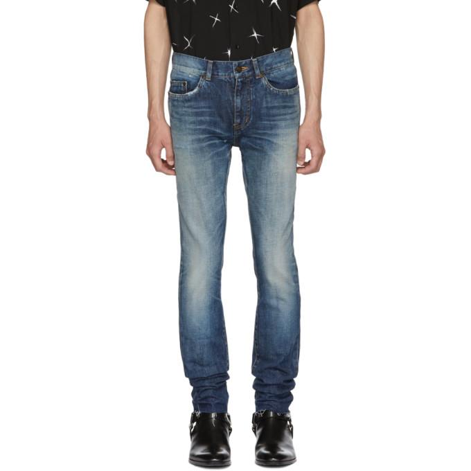 SAINT LAURENT Blue Dirty Low-Rise Skinny Jeans