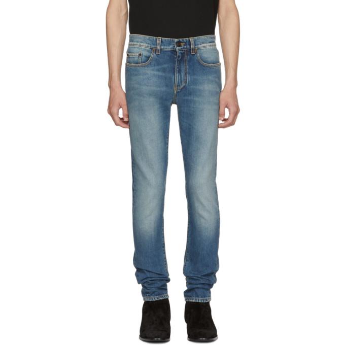 SAINT LAURENT Blue 70's Low-Rise Skinny Jeans