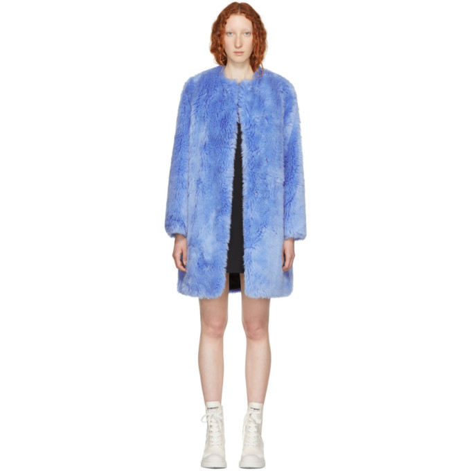 Faux Fur Long Coat in Blue
