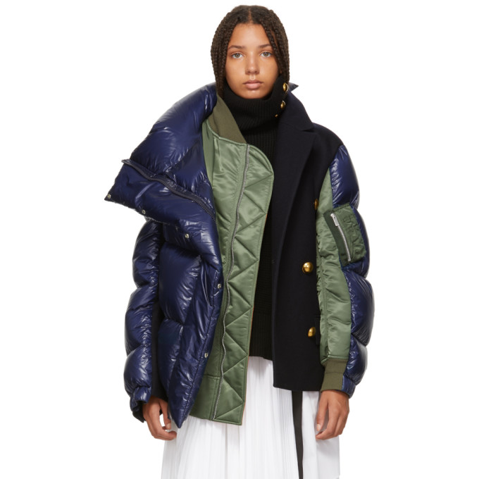 Navy & Khaki Melton Wool Ma-1 Combo Puffer Jacket in Blue