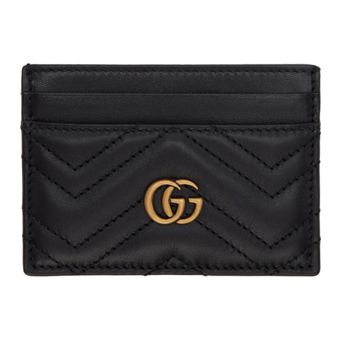 Black Gg Marmont 2.0 Card Holder by Gucci