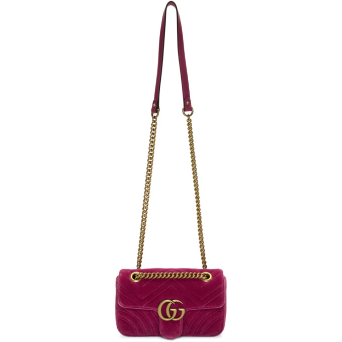 GUCCI PINK MINI VELVET MARMONT 2.0 BAG