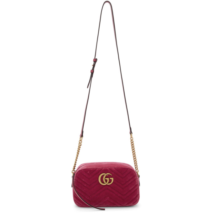 GUCCI PINK VELVET SMALL GG MARMONT 2.0 CAMERA BAG