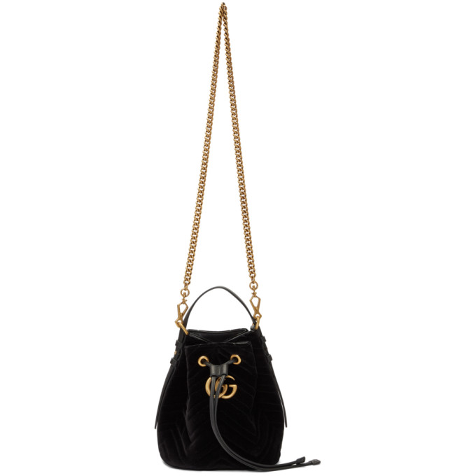 56458aaeaaf Gucci Gg Marmont Leather-Trimmed Quilted Velvet Bucket Bag In Black ...