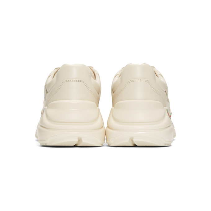Gucci Ladies Rhyton Leather Running Trainers In White