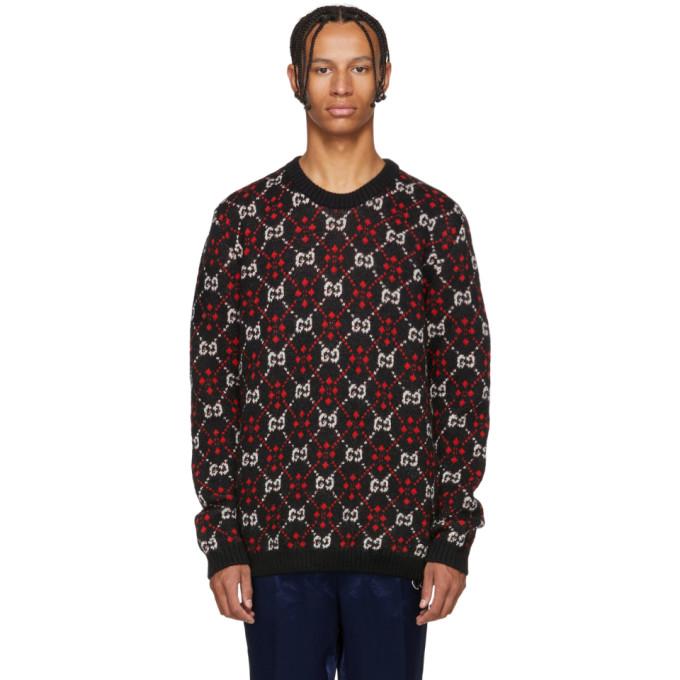 324557cf90a Gucci Gg Supreme Wool   Alpaca Knit Sweater In Black