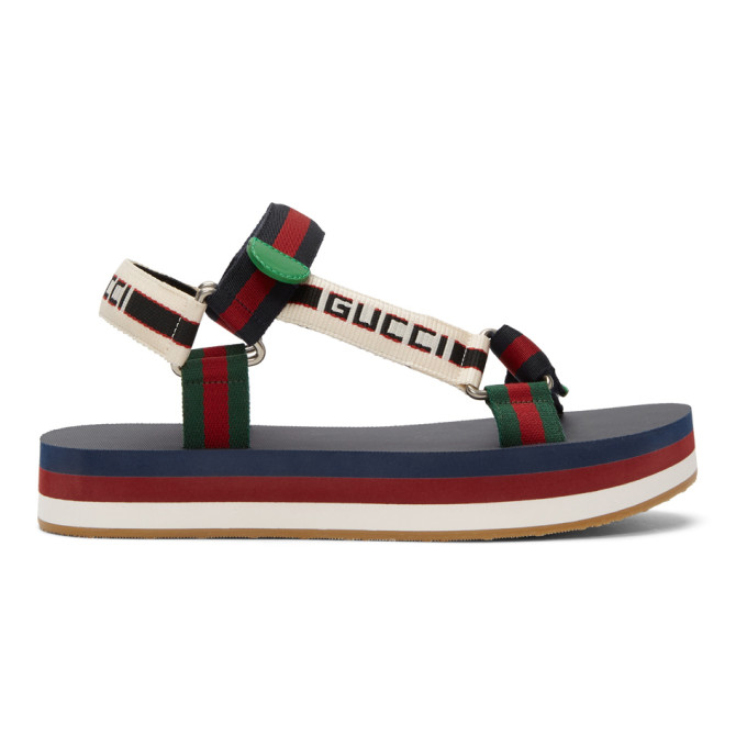 5b5c64266281 Gucci Stripe Strap Sandal In Blue