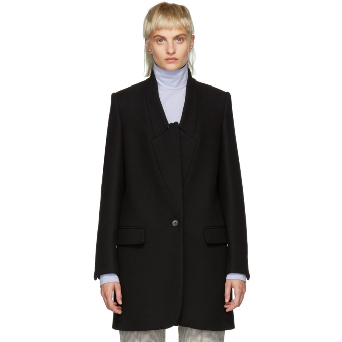 STELLA MCCARTNEY BLACK WOOL FELT COAT