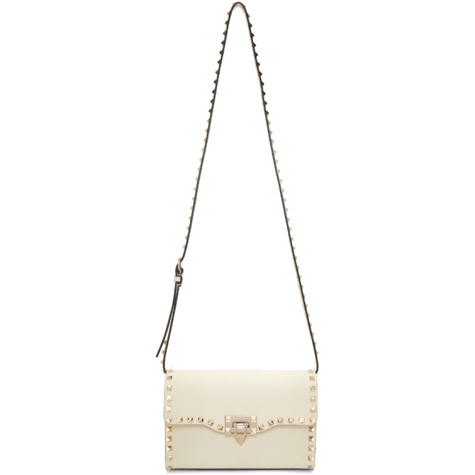 White Valentino Garavani Medium Rockstud Flap Bag by Valentino