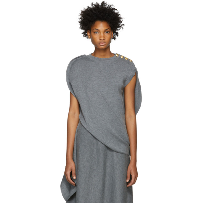 JW ANDERSON GREY CIRCLE KNIT TOP