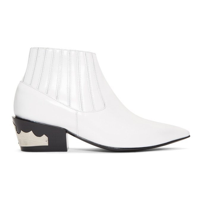 TOGA Western Style Ankle Boots in White