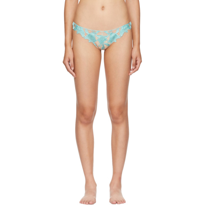 FLEUR DU MAL BLUE AND BEIGE LILY LACE THONG