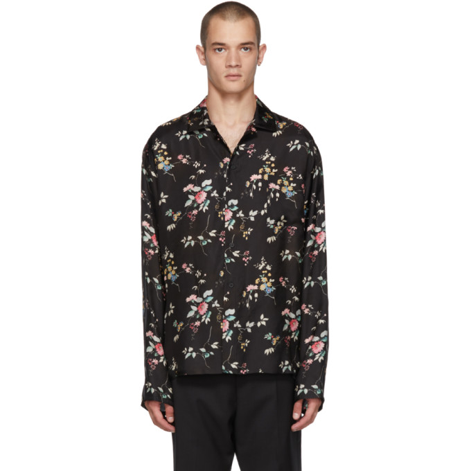 Floral Polished Twill Pajama Tunic - Black Size L