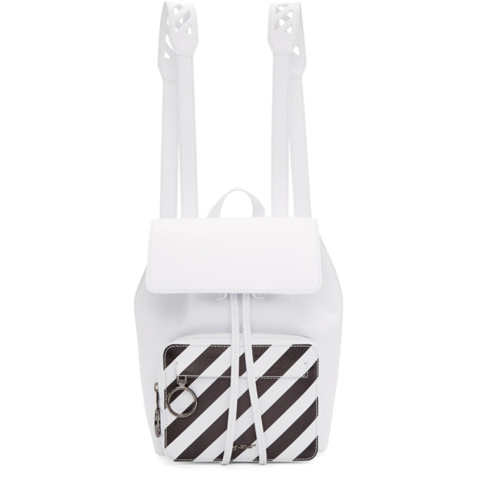 Diagonal Stripe Grained Leather Backpack, White